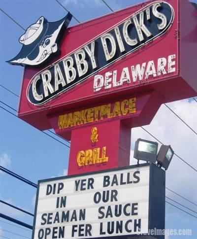 Crabby Dicks Balls Sign
