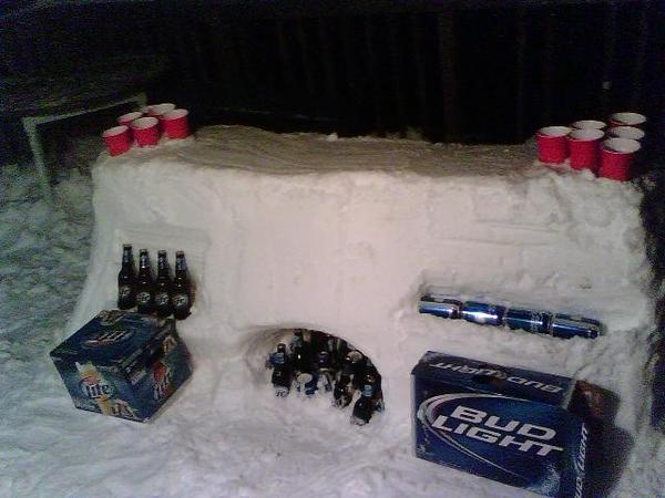 Snow Beer Pong table