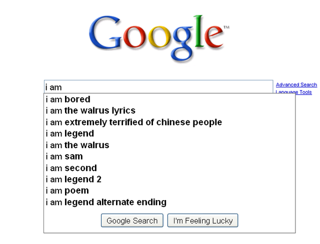 Google Suggests Why You Might Be Extremely Terrified