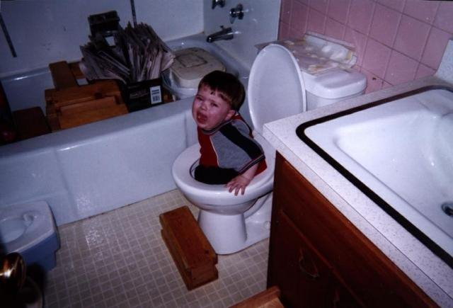 Kid Falls in the Toilet