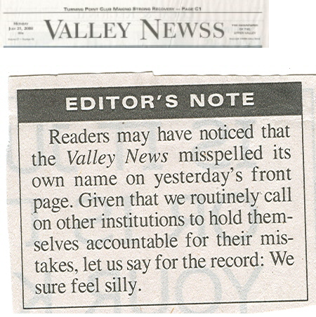 Valley Newss Spells Name Wrong