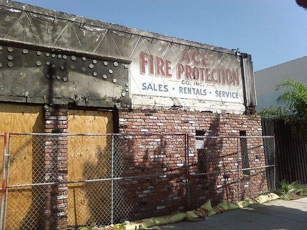Ace Fire Protection Sign Burned Down