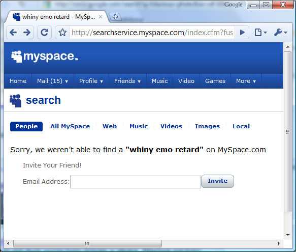 Myspace Whiny Emo Retard Search