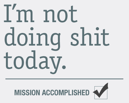 Im Not Doing Sh!t Today Check Mission Accomplished