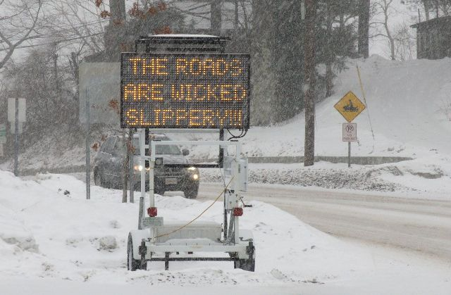 Snow Sign Roads Wicked Slippery New England