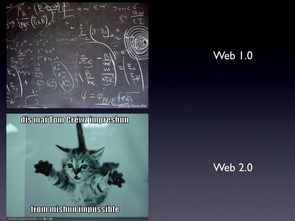 Web 1.0 vs Web 2.0 Kitty Tom Cruise Mission Impossible