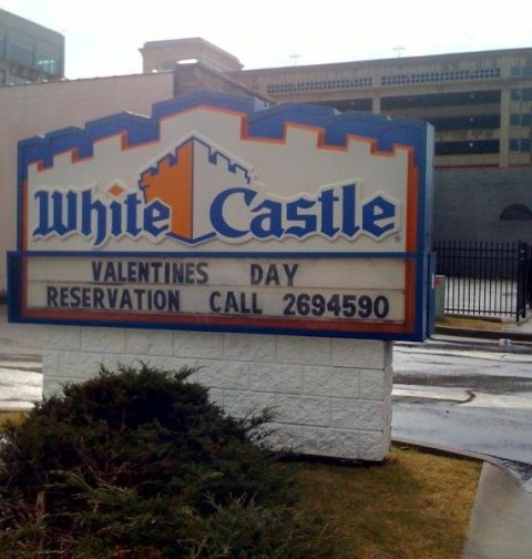 White Castle Valentines Day Reservations Sign