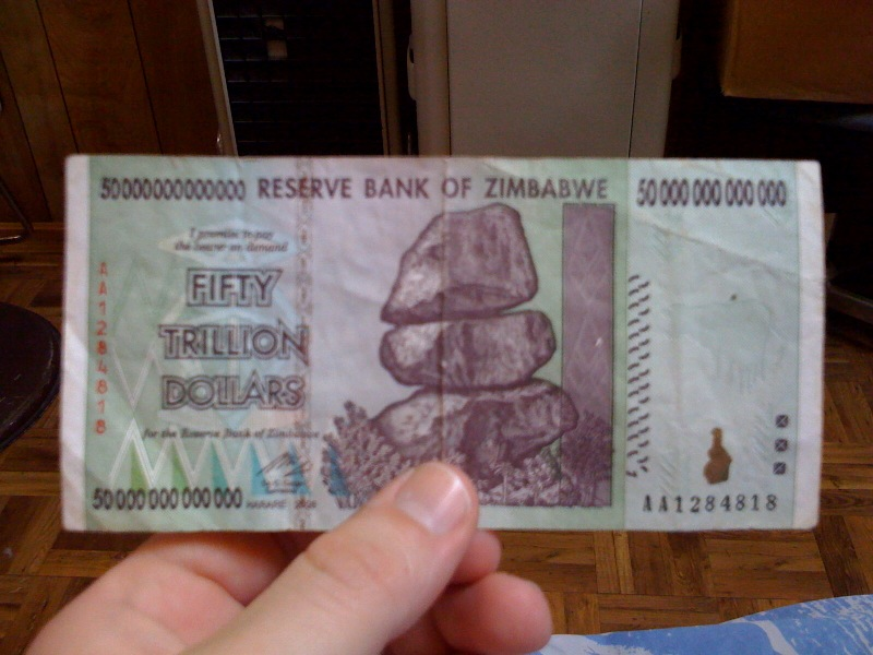 Zimbabwe Fifty Trillion Dollar Bill