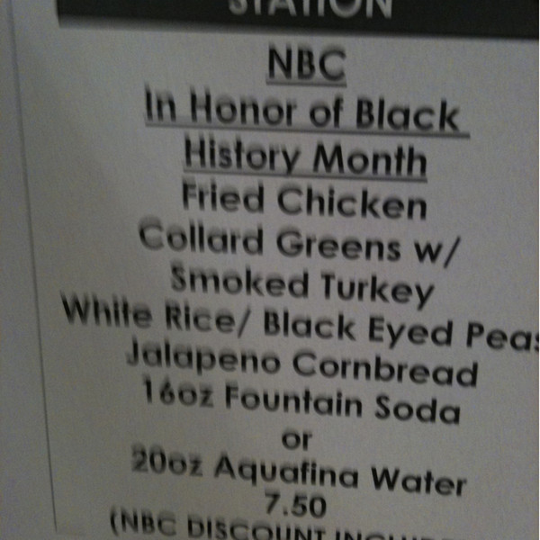 NBC Cafeteria Menu Black History Month