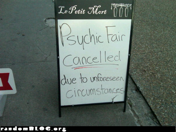 Psychich Fair Canceled Sign