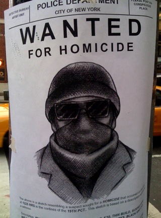 Wanted For Homicide Sign