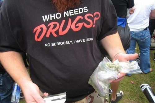 who needs drugs no seriously tshirt