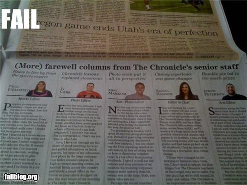 Newspaper Fairwell Fail