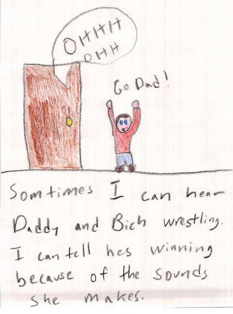 Go Dad Wrestling Kids Drawing