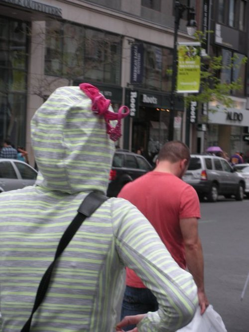 Hoodie with Underwear On Head Static Cling