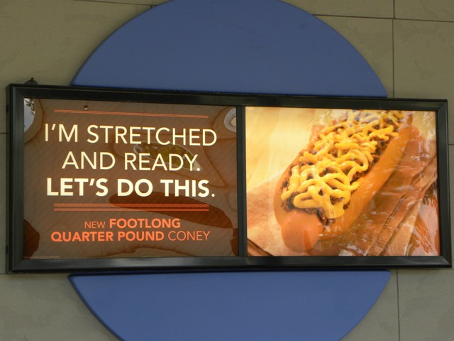 Sonic Stretch And Ready Hotdog Sign