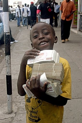 african kid with ton of money inflation