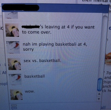 Sex vs Basketball on Facebook