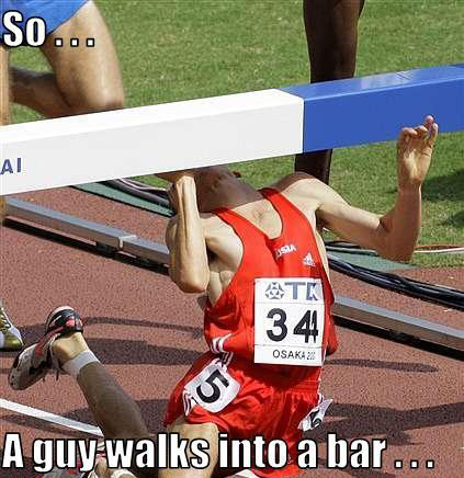 hurdler guy walks into bar