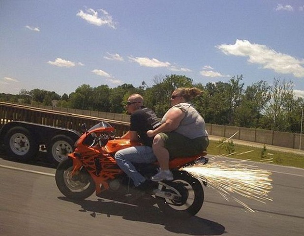 Fat Chick On Bike with Sparks