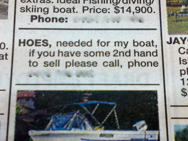 Hoes Needed For My Boat Newspaper Ad
