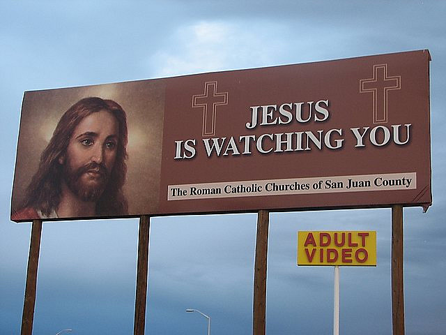 Jesus is Watching You Bill Board Adult Store