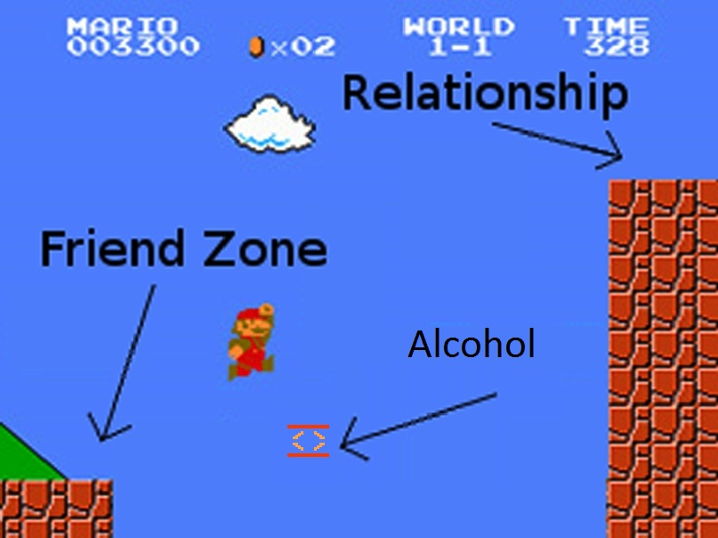 mario trampoloines from friendzone to relationship with alcohol