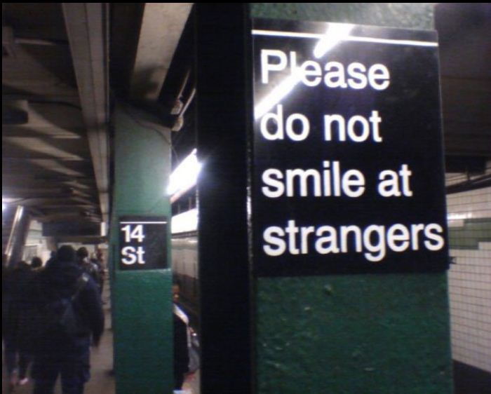 useful subway advice sign