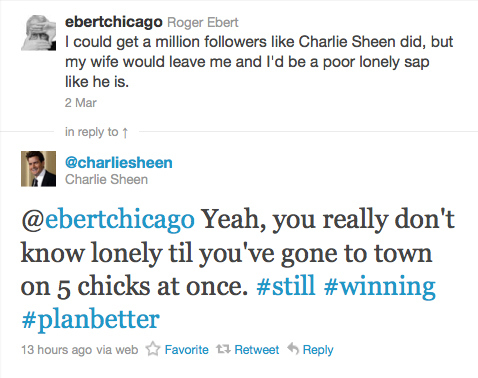 Charlie Sheen Vs Roger Ebert on Twitter
