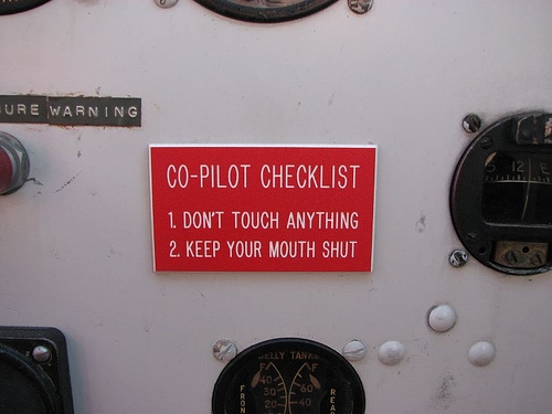 co pilot checklist shut up touch nothing