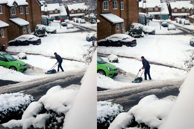 Idiot Neighbor Trys to Mow the Snow UK British