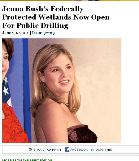 Jenna Bush's Wetlands Open for Public Drilling
