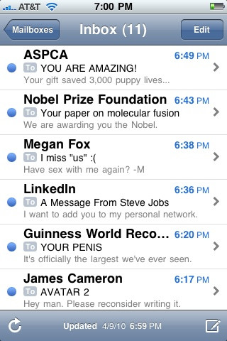 iphone mail steve jobs megan fox james cameron