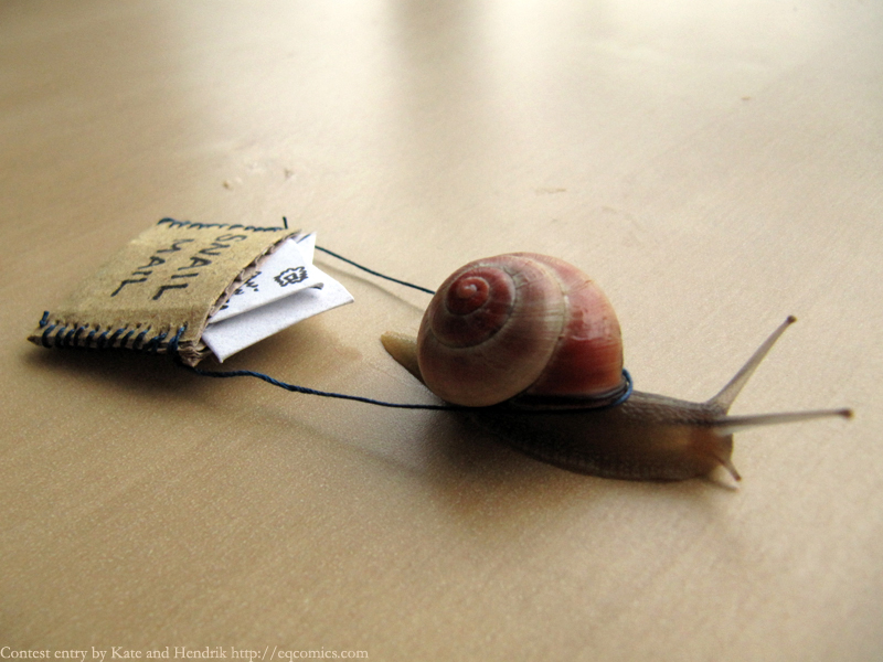snail carries mail bag