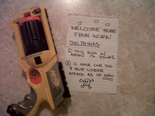 Nerf Gun Note Home From Work Under Attack