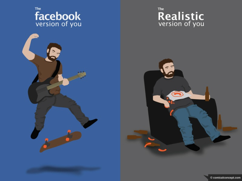 Facebook Version of you vs Realistic Version