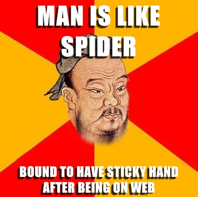man is like spider sticky hand web
